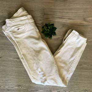 White Hollister Cropped Zip Skinny Jeans | Sz 27